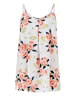 Ivory Floral Printed Strappy Cami