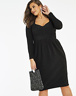 Black Sweetheart Neck Glitter Knit Dress