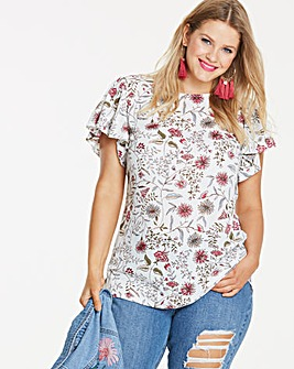 Ivory Floral Angel Sleeve Shell Top