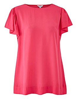 Bright Pink Angel Sleeve Shell Top