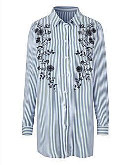 Blue/White Stripe Embroidered Shirt