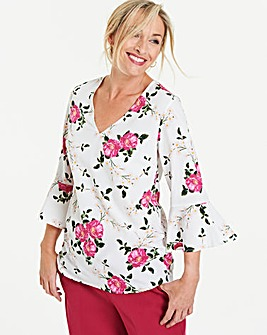Ivory Floral Fluted Sleeve Blouse