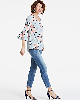 Blue Floral V Neck Fluted Sleeve Blouse