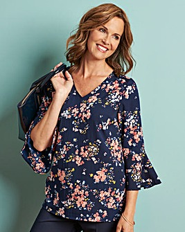 Navy Print V Neck Fluted Sleeve Blouse