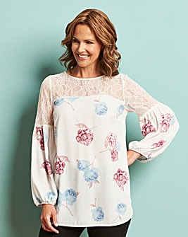 Ivory Print Lace Detail Blouse