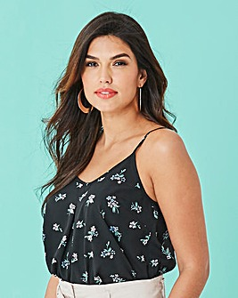 Black Floral Printed Strappy Cami