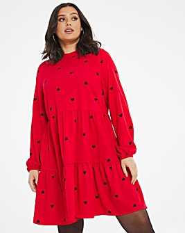 Red Heart Tiered Smock Dress