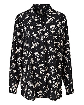 Black Star Print Printed Viscose Shirt