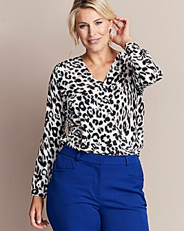 Animal Print Wrap Blouse