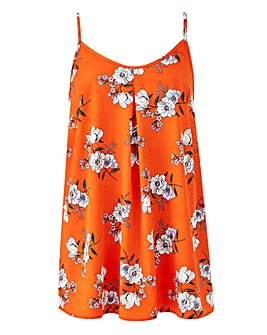 Orange Print Printed Strappy Cami