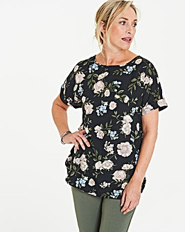 Black Floral Drop Sleeve Shell Top