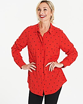 Red Spot Printed Viscose Shirt
