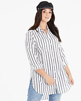 White/Black Stripe Longline Tunic