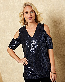 Navy Sequin Cold Shoulder Top