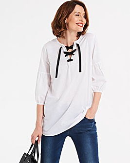 White Eyelet Detail Lace Up Top