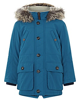 Monsoon Tommy Teal Parka Coat