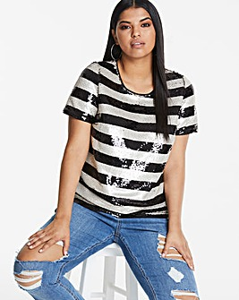Joanna Hope Sequin Stripe Top