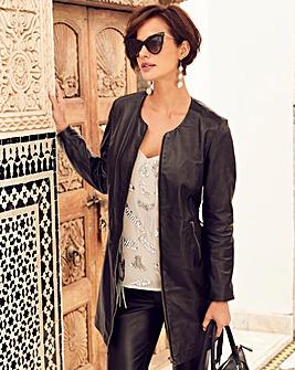 Joanna Hope Longline Leather Jacket