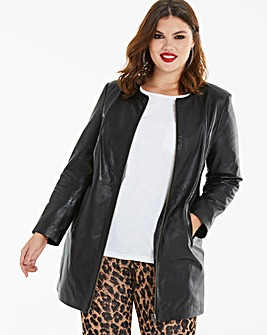 Joanna Hope Longline Leather Jacket