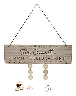 Personalised Celebrations Hanging Calendar Plaque