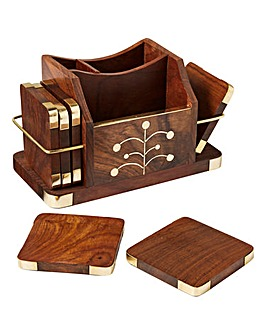 Sheesham Accessory Stand with Coasters