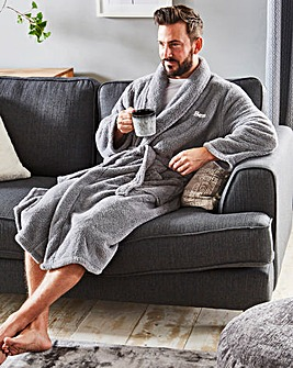 Personalised Mens Cuddle Fleece Robe