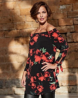 Joanna Hope Red Floral Print Bardot Tunic