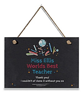 Personalised Best Teacher Hanging Slate