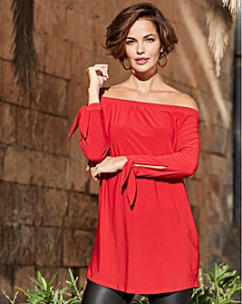 Joanna Hope Red Bardot Tunic