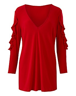 Joanna Hope Red Frill Detail Tunic