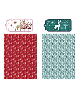 Traditional Christmas Cards and Wrap Set