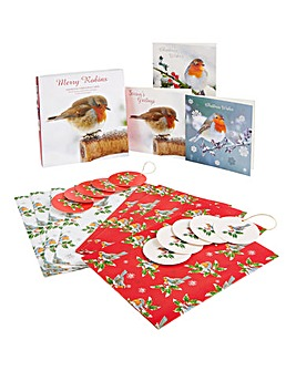 Traditional Robins Cards and Wrap Set
