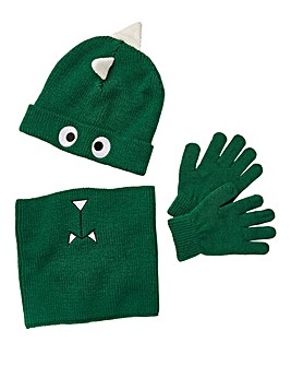 Dinosaur Hat, Gloves and Snood Set