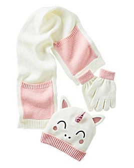 Unicorn Hat, Gloves and Scarf Set