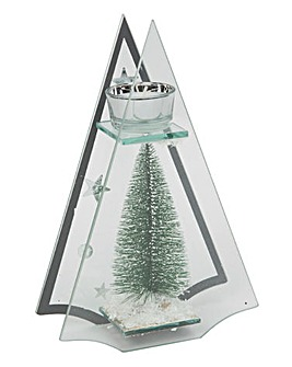 Glass Christmas Tree Tealight Holder