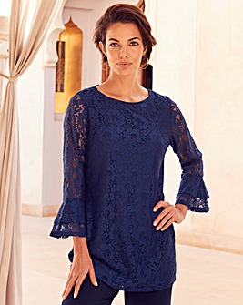 Joanna Hope Navy Lace Tunic