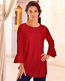 Joanna Hope Red Lace Tunic