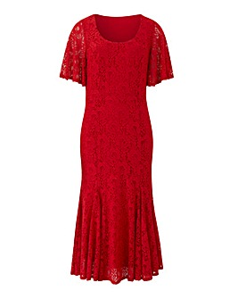 Joanna Hope Red Lace Midi Dress