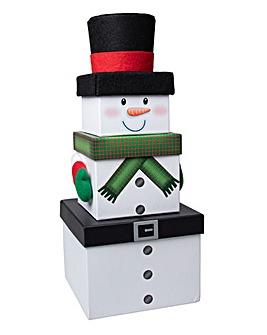 Snowman Set 3 Stacking Gift Boxes