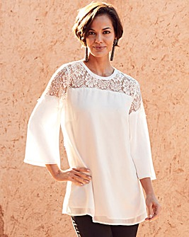 Joanna Hope Ivory Lace Trim Tunic