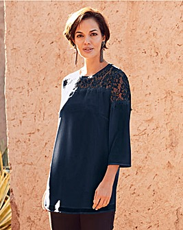 Joanna Hope Navy Lace Trim Tunic