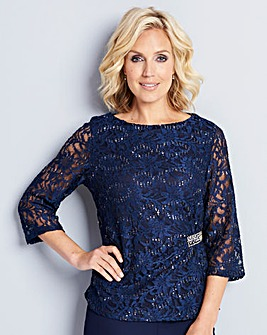Nightingales Navy Sequin Lace Top
