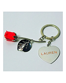 Personalised Eternity Rose Keyring