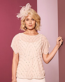 Nightingales Blush Occasion Beaded Top