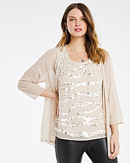 Nightingales Champagne Sequin Blouse and Jacket