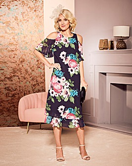 Nightingales Print Cold Shoulder Dress