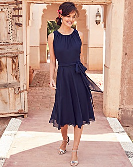 Joanna Hope Navy Chiffon Dress