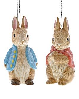 Peter Rabbit & Flopsy Hanging Ornaments