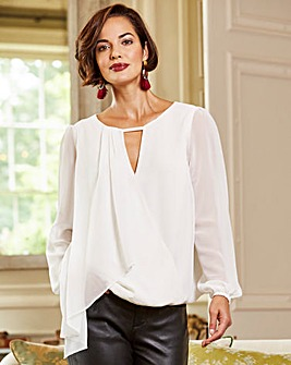 Joanna Hope Layered Wrap Blouse