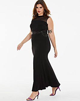 Joanna Hope Sequin Neck Maxi Dress